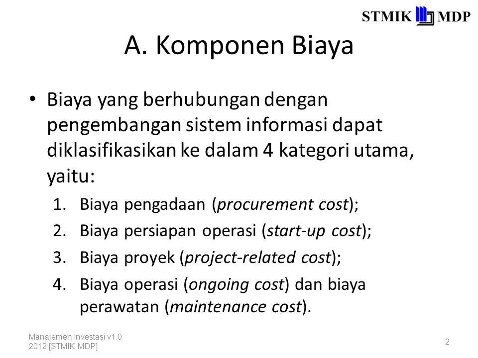A. Komponen Biaya Biaya yang berhubungan dengan pengembangan sistem informasi dapat diklasifikasikan ke dalam 4 kategori utama, yaitu: