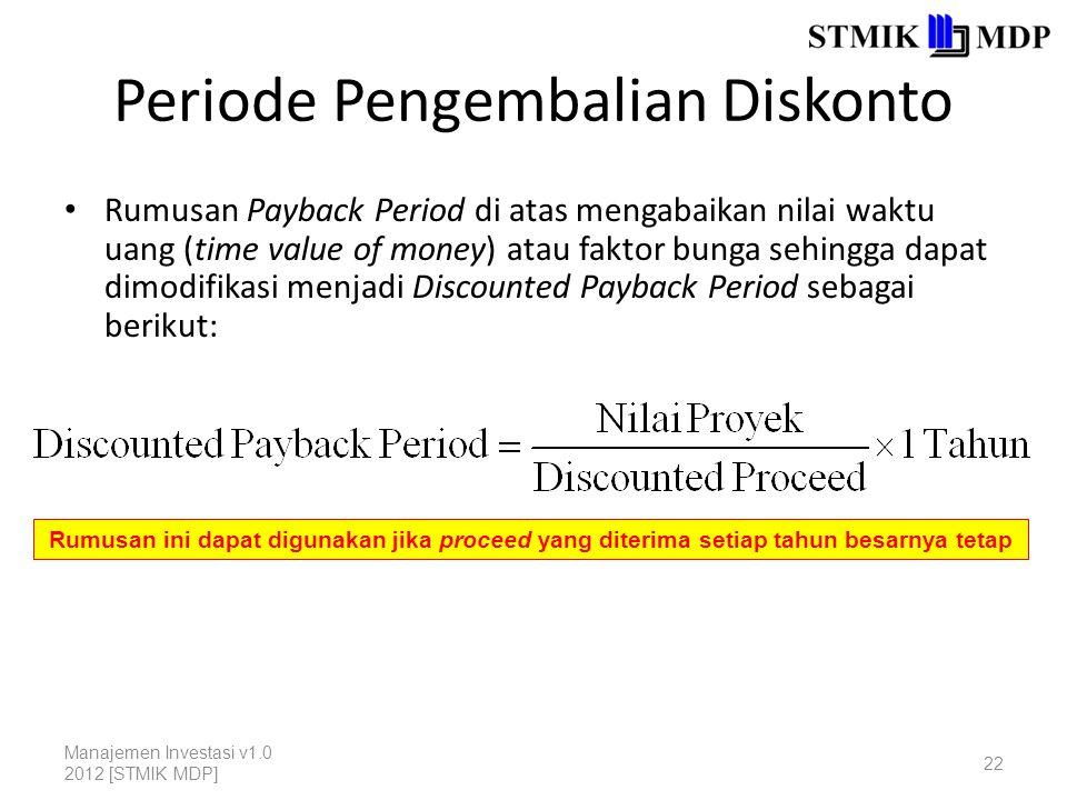 Periode Pengembalian Diskonto