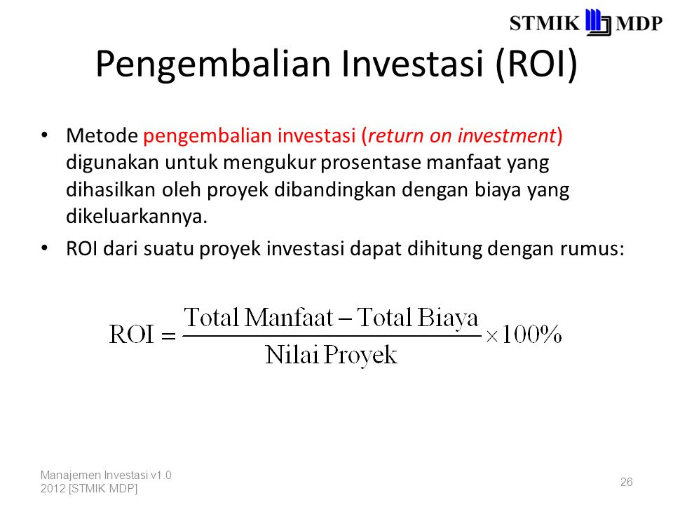 Pengembalian Investasi (ROI)