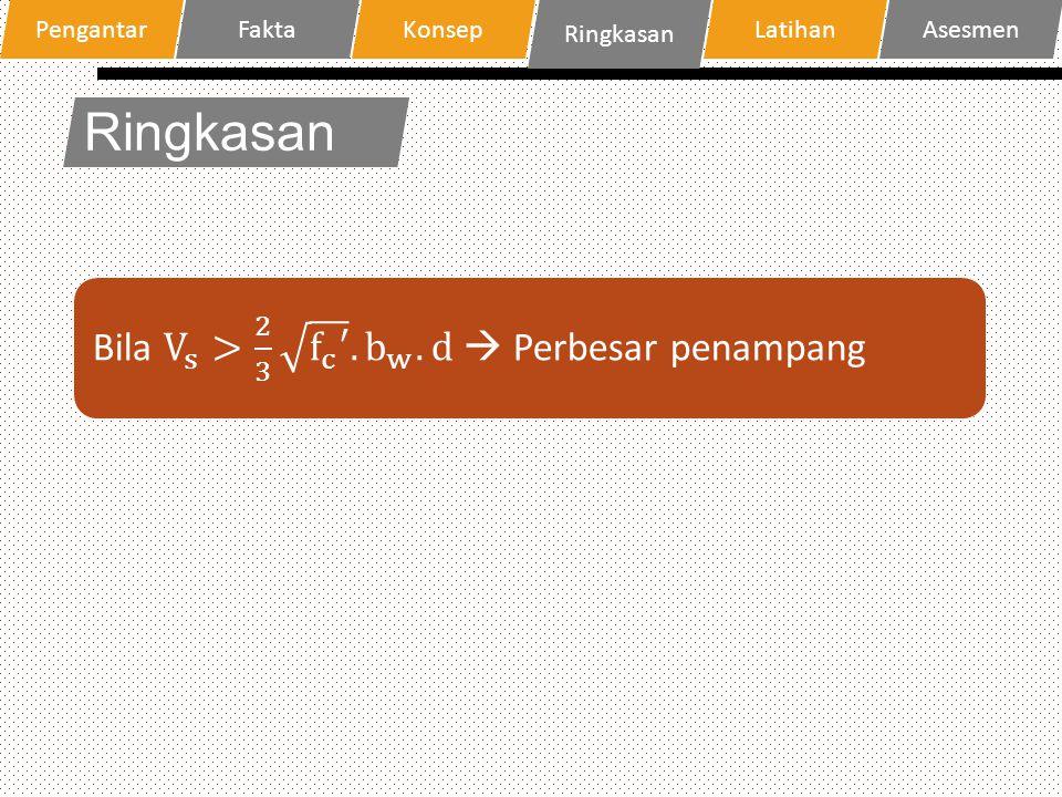 Ringkasan Bila V s > 2 3 f c ′ . b w .d  Perbesar penampang