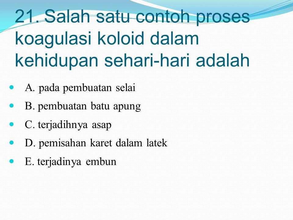 21. Salah satu contoh proses koagulasi koloid dalam kehidupan sehari-hari adalah