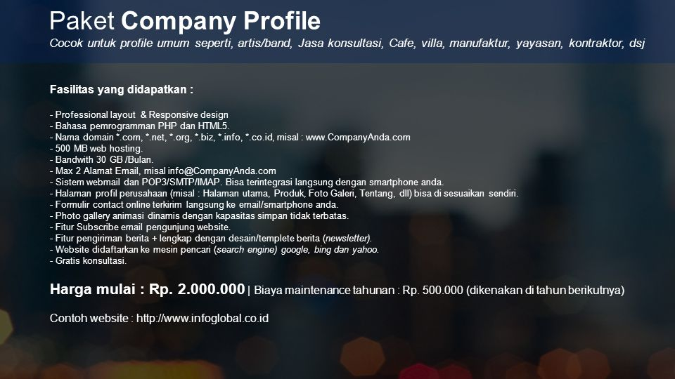 Paket Company Profile Cocok untuk profile umum seperti, artis/band, Jasa konsultasi, Cafe, villa, manufaktur, yayasan, kontraktor, dsj.
