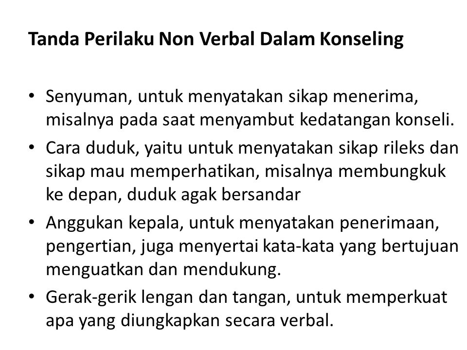 Tanda Perilaku Non Verbal Dalam Konseling