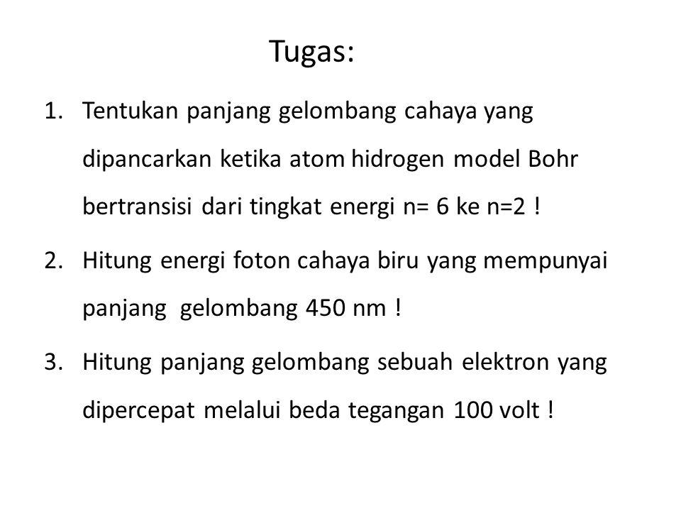 Tugas: Tentukan panjang gelombang cahaya yang dipancarkan ketika atom hidrogen model Bohr bertransisi dari tingkat energi n= 6 ke n=2 !