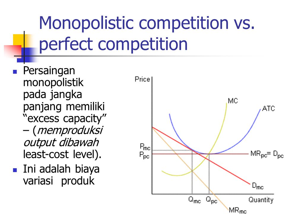 monopolistic vs perfect competition We begin our analysis by looking at a model of monopolistic competition as the name monopolistic competition suggests, the industry shares characteristics of both a perfectly competitive industry and a monopoly like perfect competition, a monopolistic competitive industry has many firms, or if.