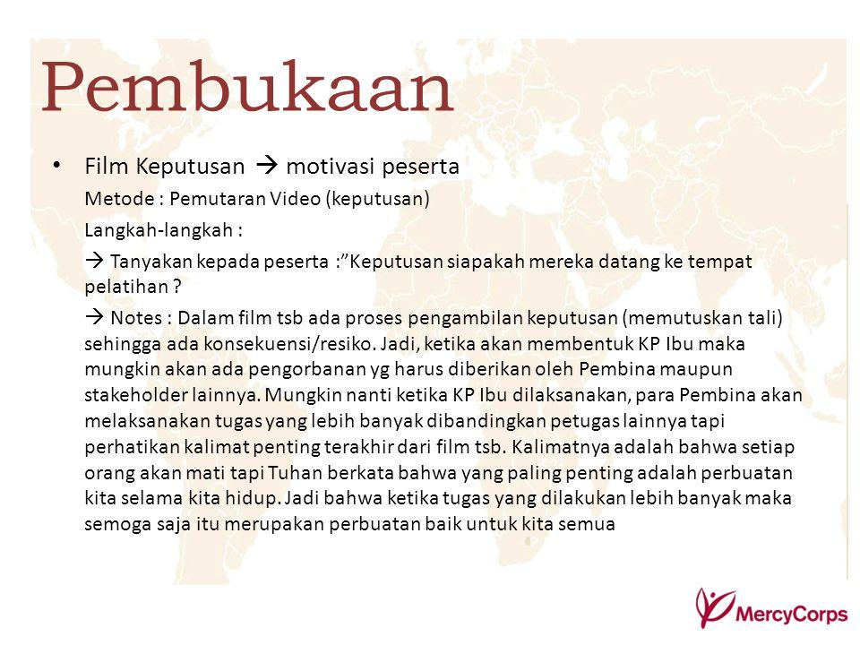 Pembukaan Film Keputusan  motivasi peserta