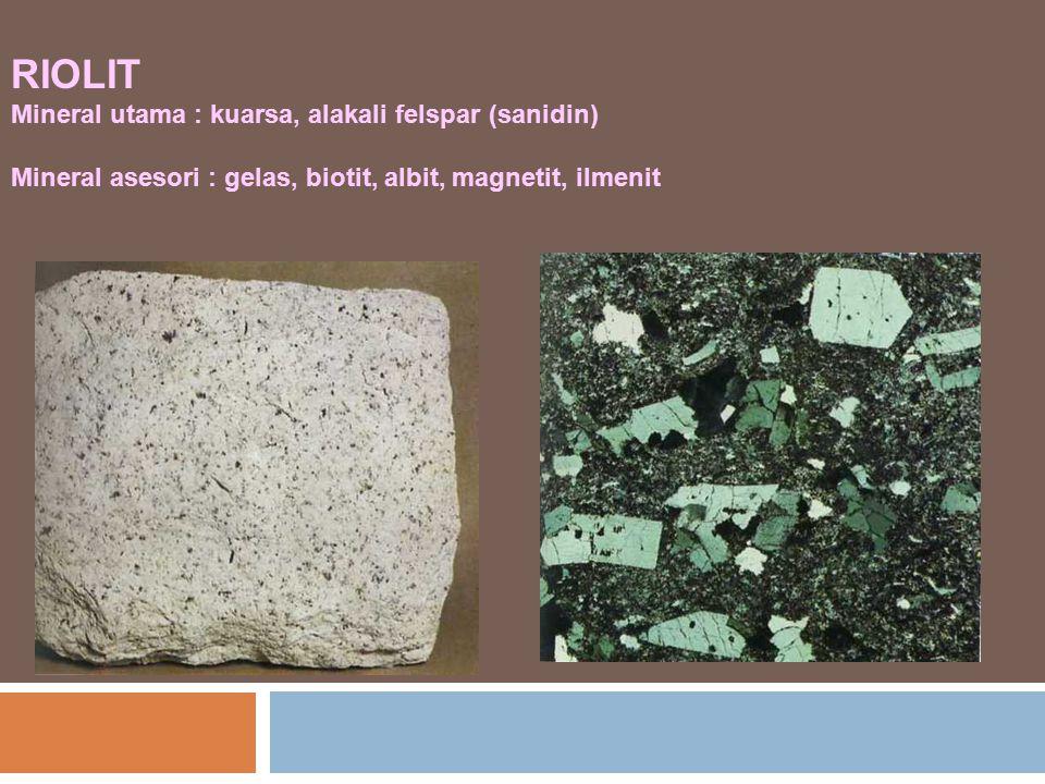 RIOLIT Mineral utama : kuarsa, alakali felspar (sanidin)
