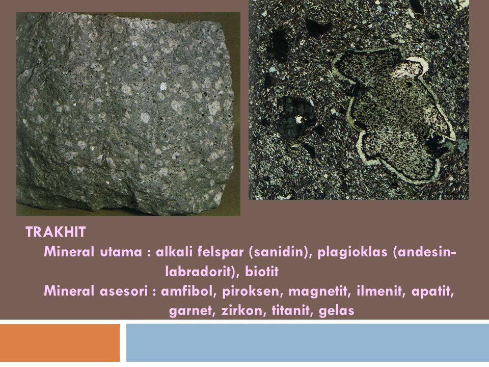 TRAKHIT Mineral utama : alkali felspar (sanidin), plagioklas (andesin- labradorit), biotit Mineral asesori : amfibol, piroksen, magnetit, ilmenit, apatit, garnet, zirkon, titanit, gelas