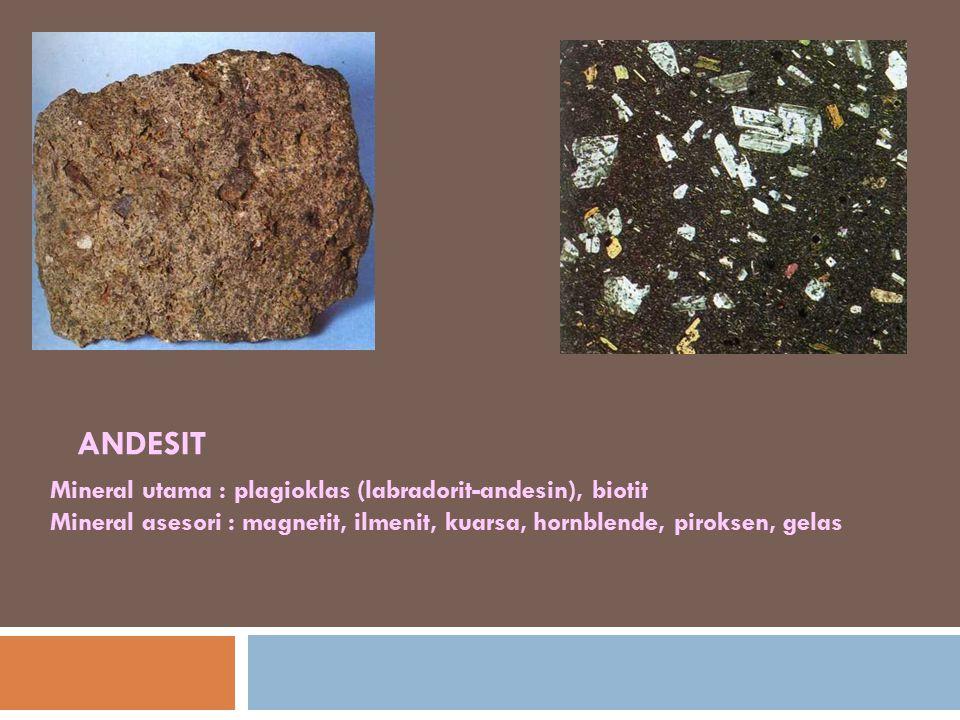 ANDESIT Mineral utama : plagioklas (labradorit-andesin), biotit Mineral asesori : magnetit, ilmenit, kuarsa, hornblende, piroksen, gelas.