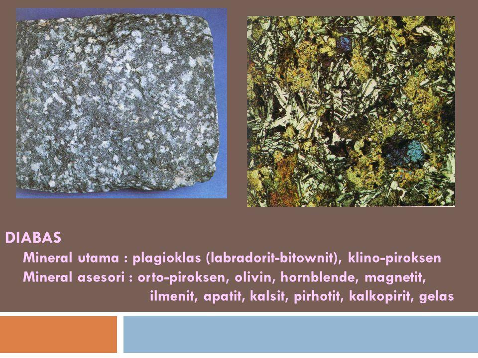 DIABAS Mineral utama : plagioklas (labradorit-bitownit), klino-piroksen Mineral asesori : orto-piroksen, olivin, hornblende, magnetit, ilmenit, apatit, kalsit, pirhotit, kalkopirit, gelas