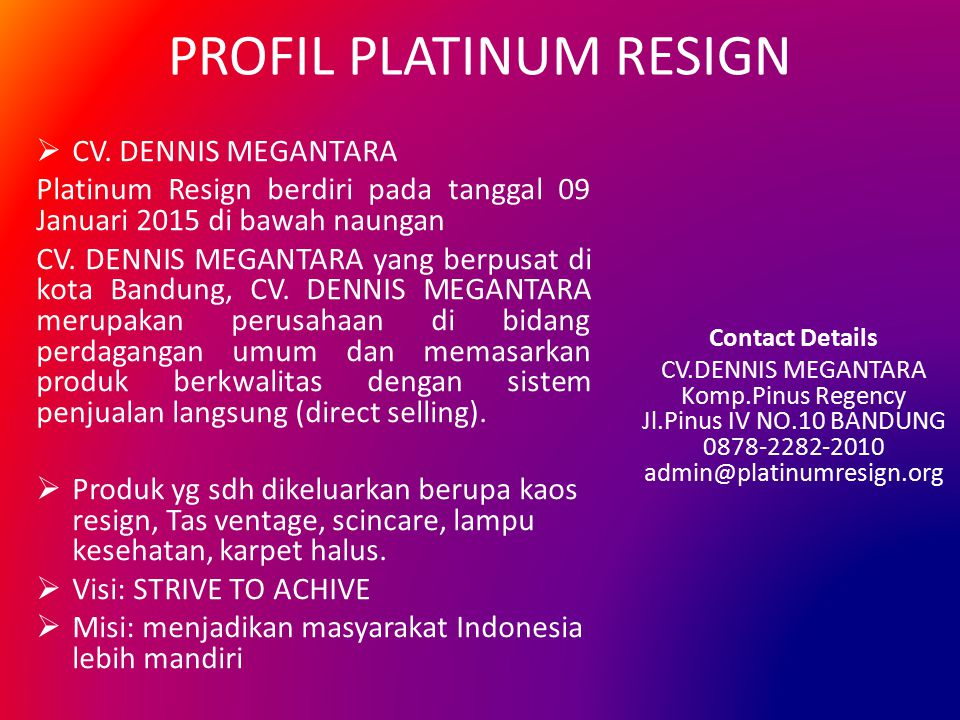PROFIL PLATINUM RESIGN