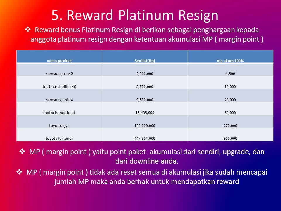 5. Reward Platinum Resign