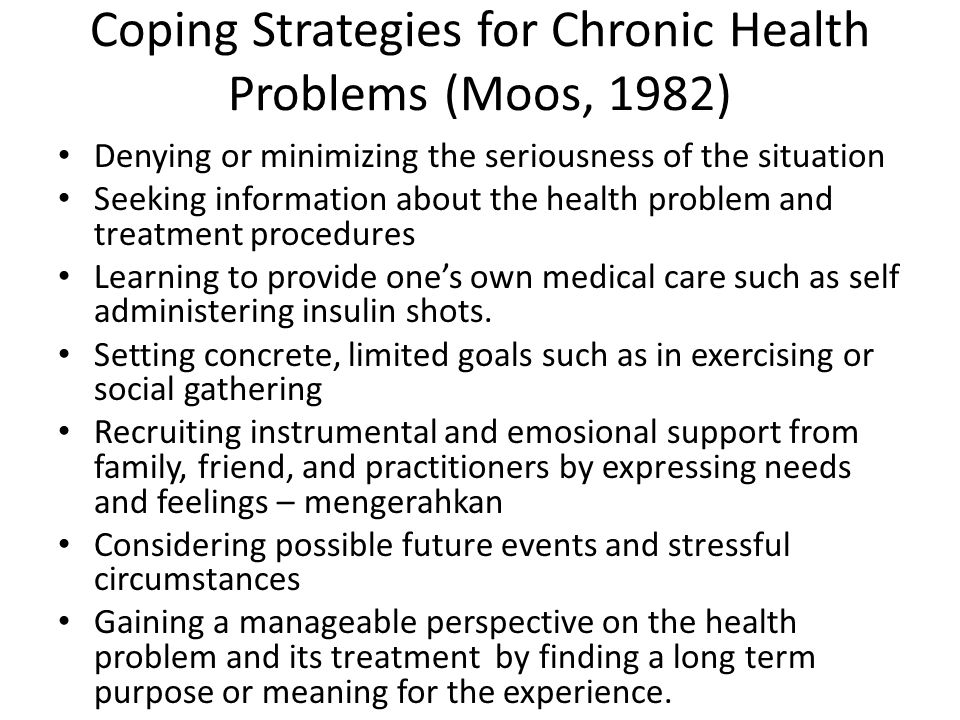 Coping Strategies for Chronic Health Problems (Moos, 1982)