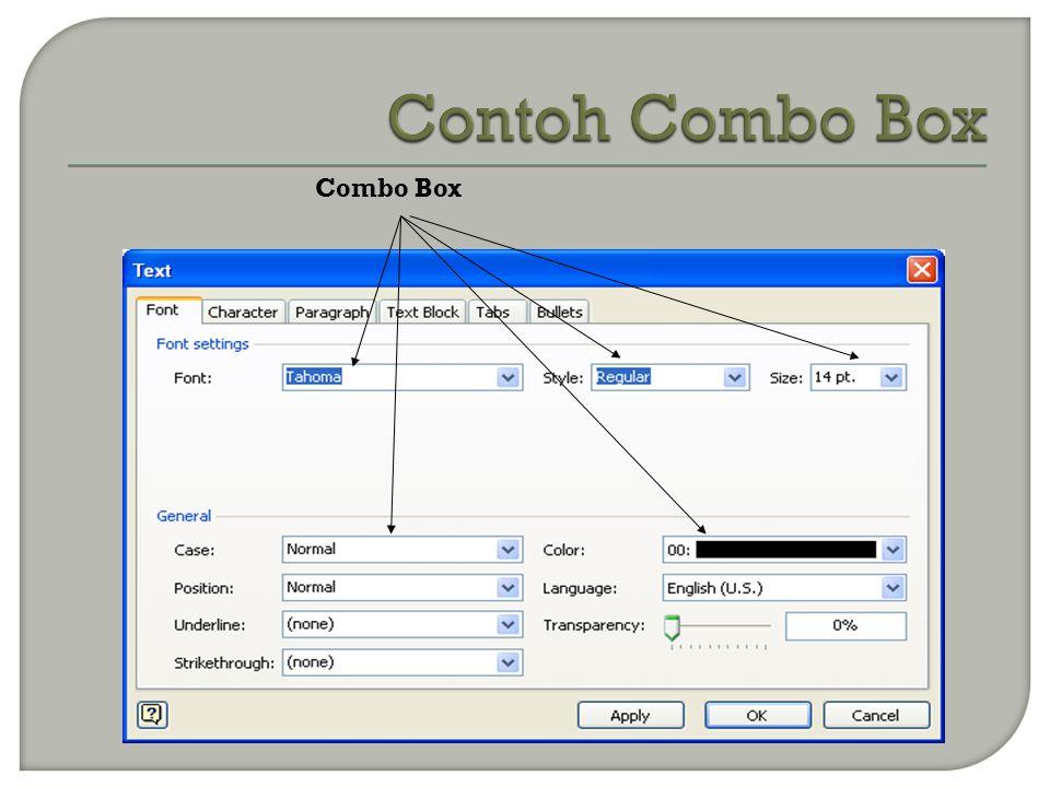 Contoh Combo Box Combo Box