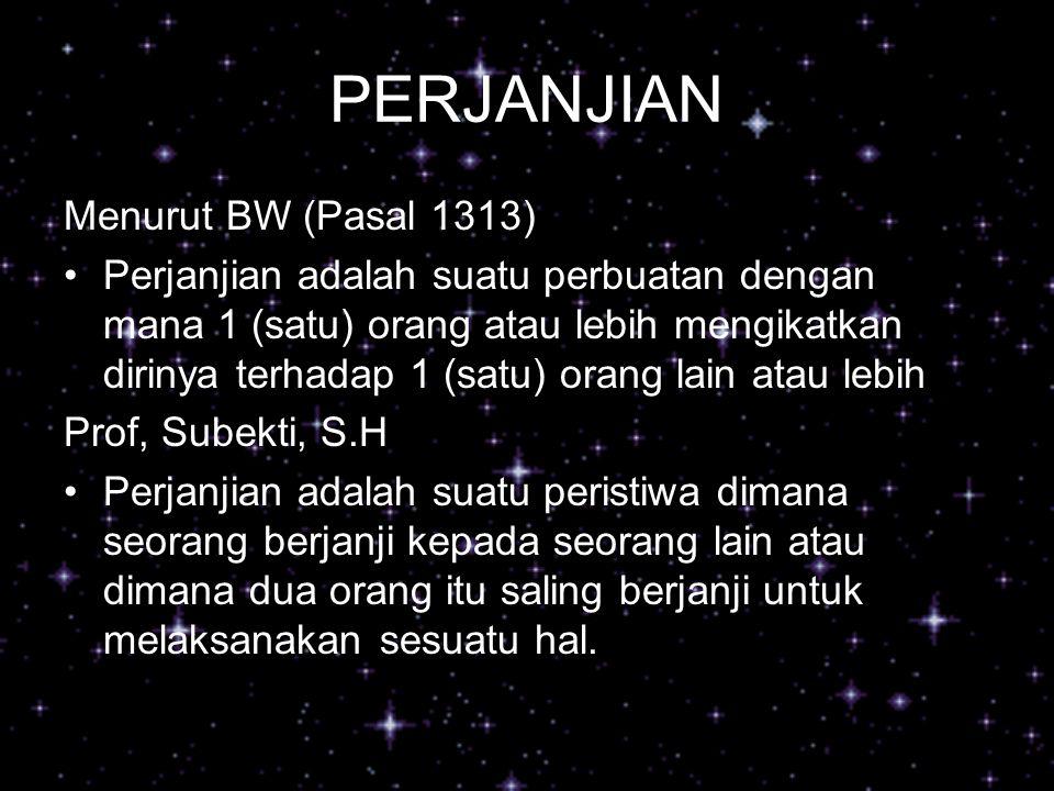 PERJANJIAN Menurut BW (Pasal 1313)