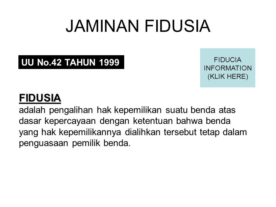 JAMINAN FIDUSIA FIDUSIA UU No.42 TAHUN 1999