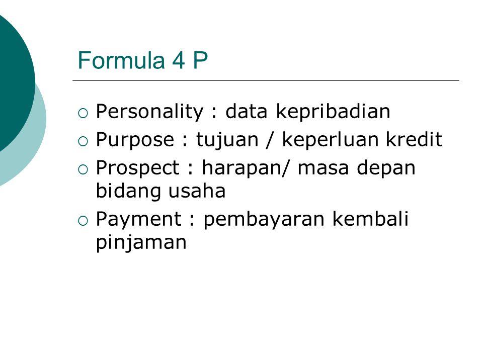 Formula 4 P Personality : data kepribadian