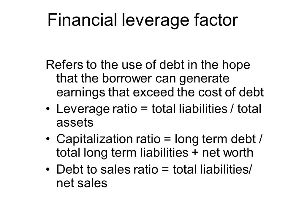 Financial leverage factor