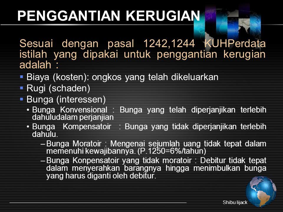 PENGGANTIAN KERUGIAN Sesuai dengan pasal 1242,1244 KUHPerdata istilah yang dipakai untuk penggantian kerugian adalah :