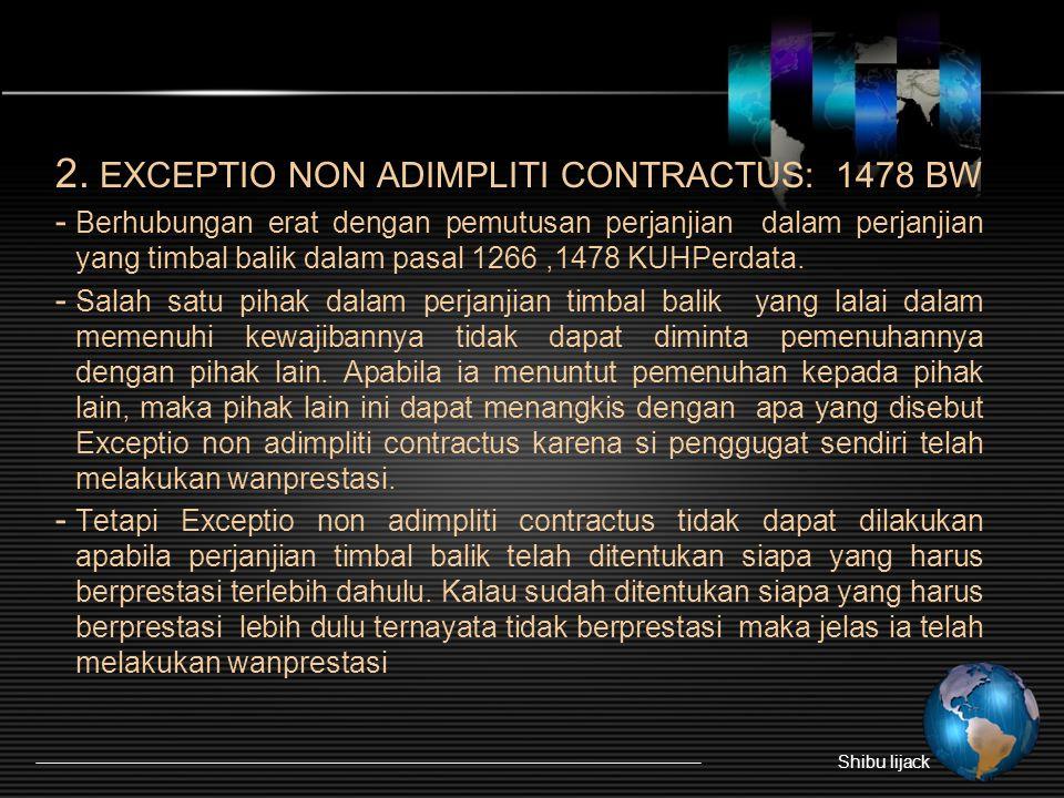 2. EXCEPTIO NON ADIMPLITI CONTRACTUS: 1478 BW