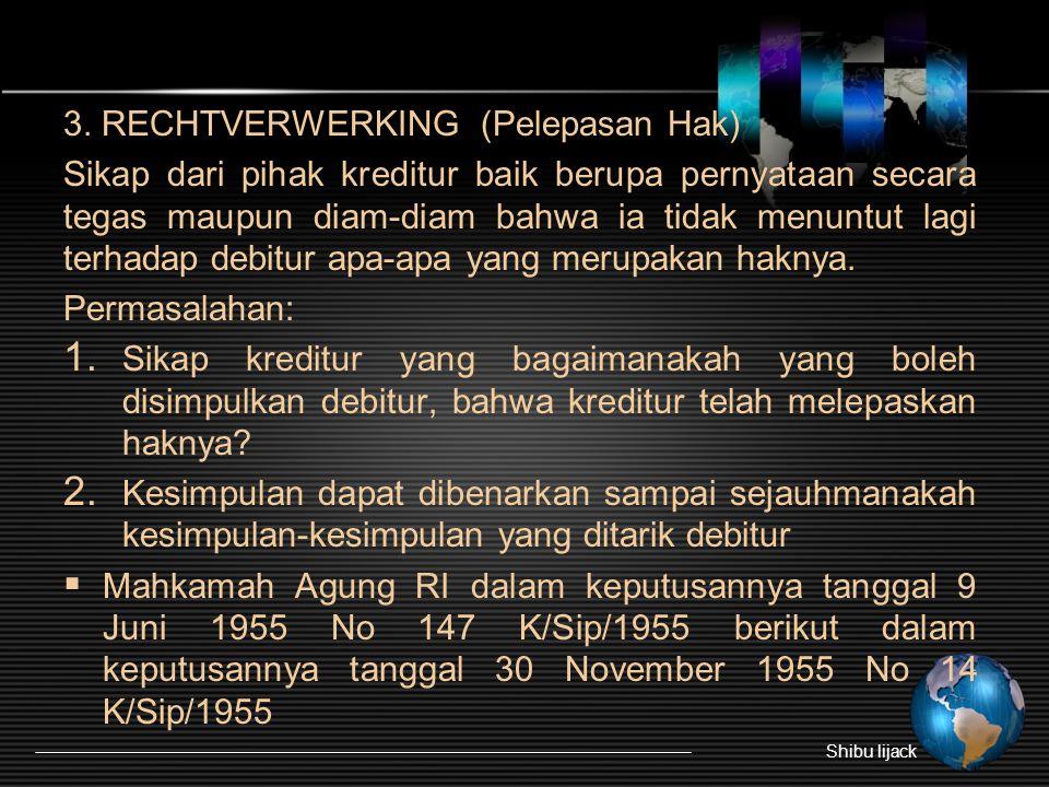 3. RECHTVERWERKING (Pelepasan Hak)