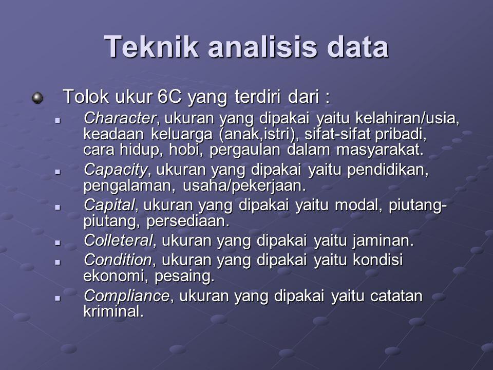Teknik analisis data Tolok ukur 6C yang terdiri dari :