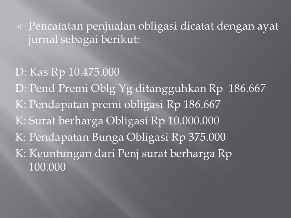 Pencatatan penjualan obligasi dicatat dengan ayat jurnal sebagai berikut: