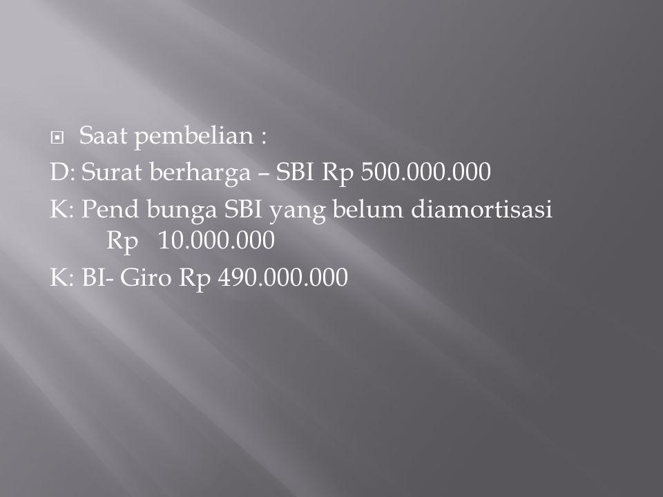 Saat pembelian : D: Surat berharga – SBI Rp 500.000.000. K: Pend bunga SBI yang belum diamortisasi Rp 10.000.000.