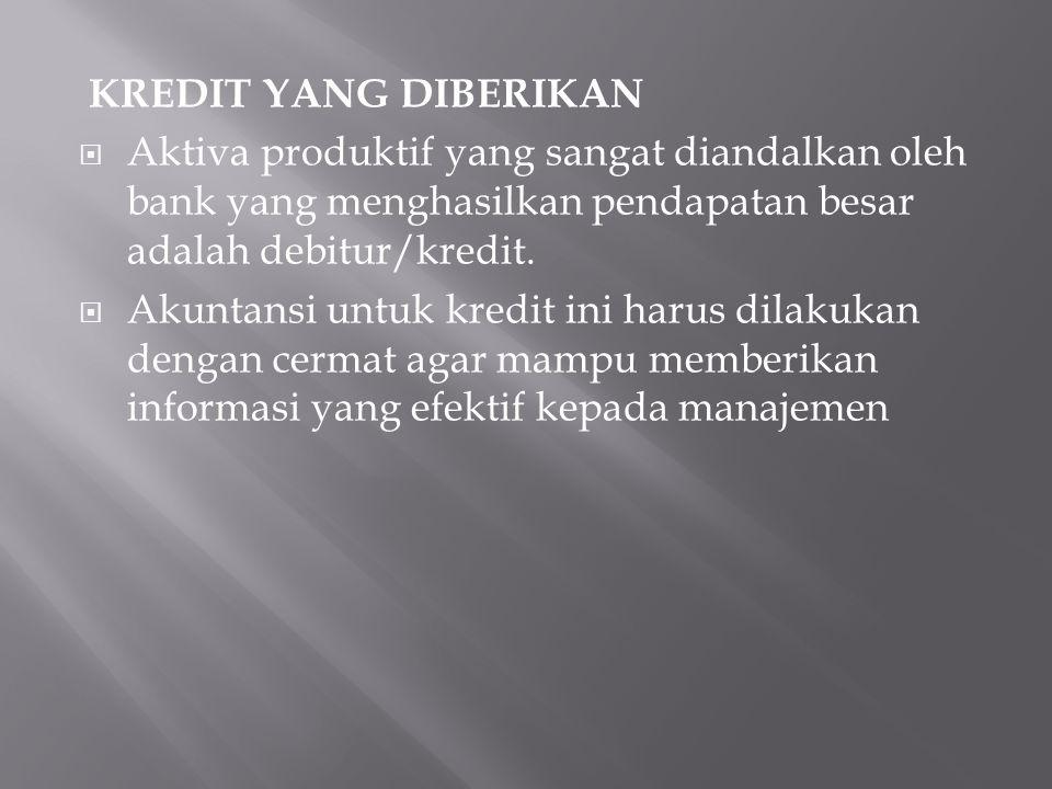 KREDIT YANG DIBERIKAN Aktiva produktif yang sangat diandalkan oleh bank yang menghasilkan pendapatan besar adalah debitur/kredit.