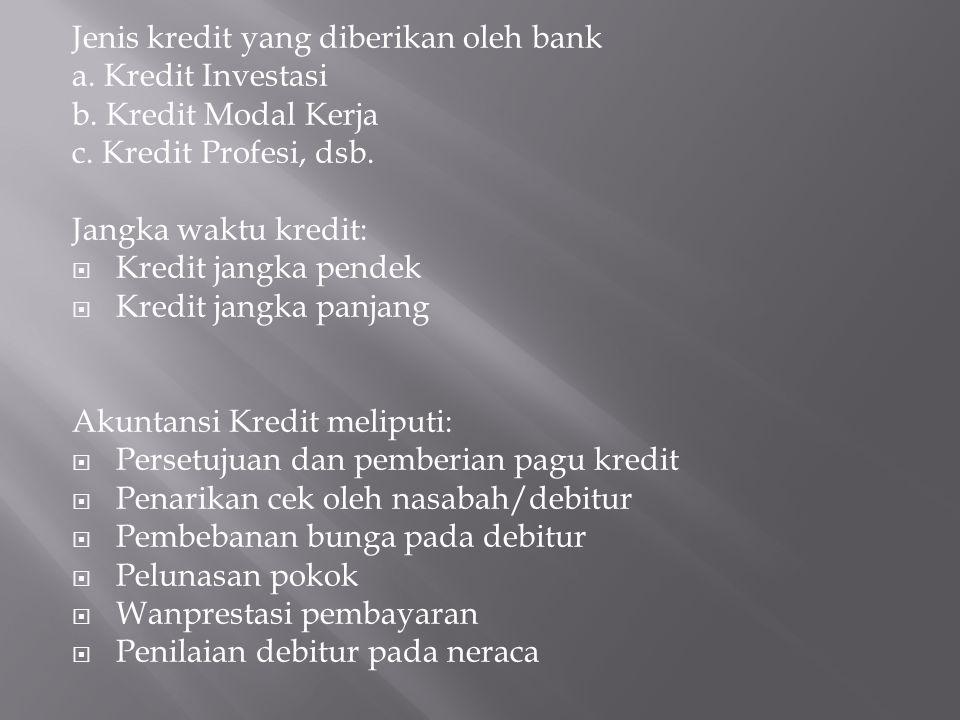 Jenis kredit yang diberikan oleh bank