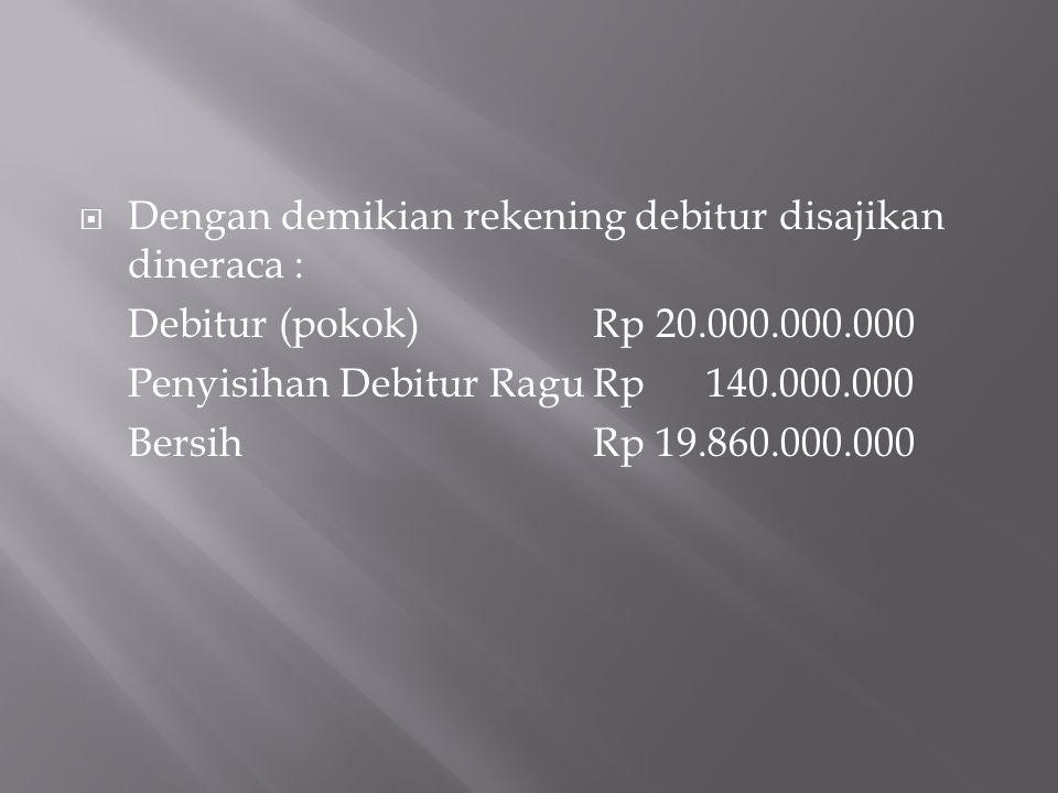 Dengan demikian rekening debitur disajikan dineraca :