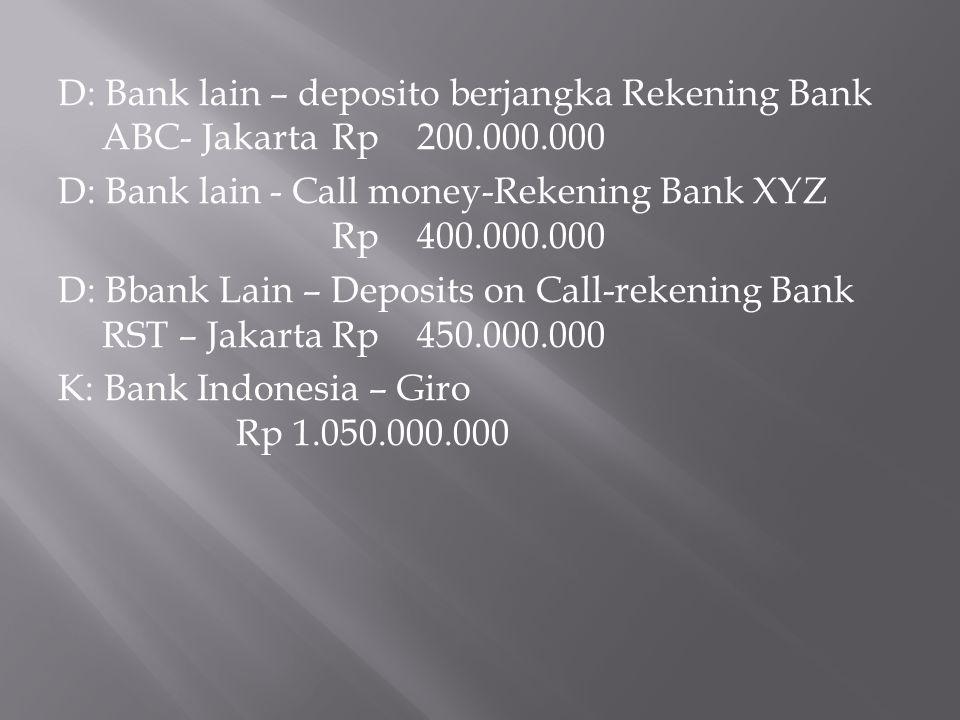 D: Bank lain – deposito berjangka Rekening Bank ABC- Jakarta Rp 200
