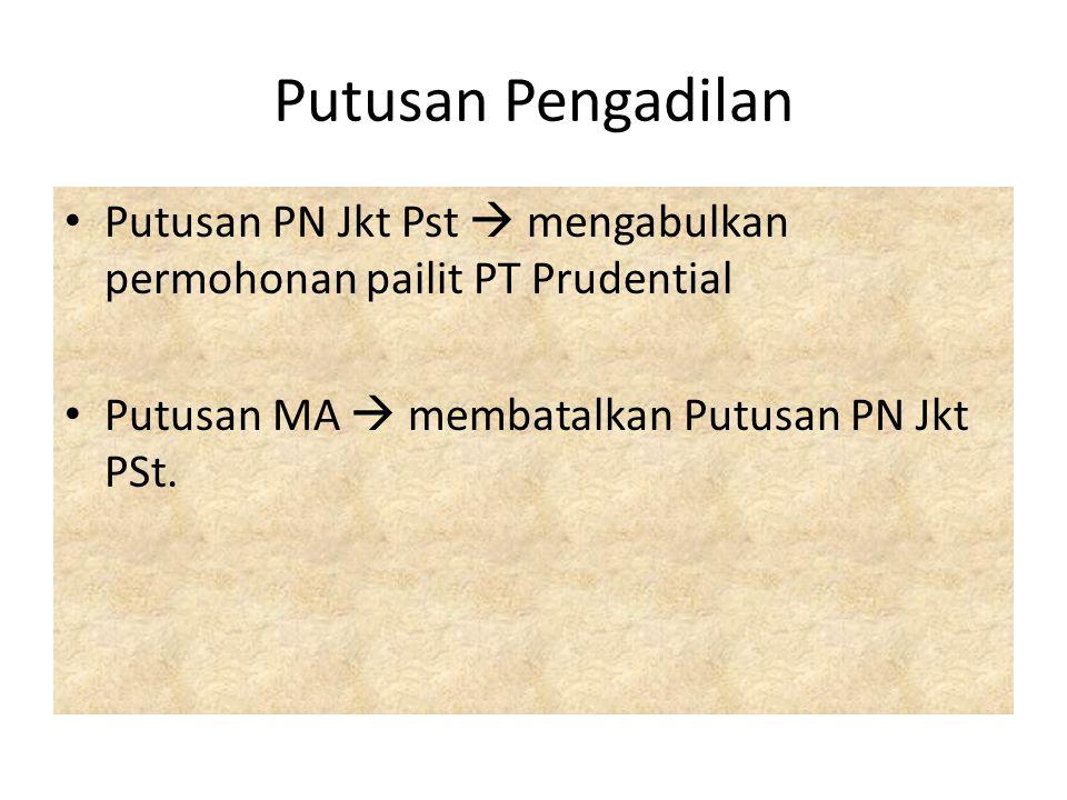 Putusan Pengadilan Putusan PN Jkt Pst  mengabulkan permohonan pailit PT Prudential.