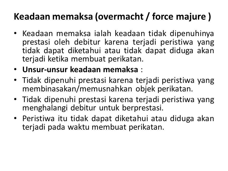 Keadaan memaksa (overmacht / force majure )