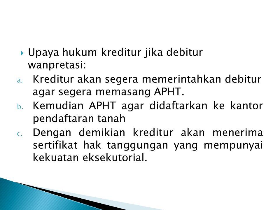 Upaya hukum kreditur jika debitur wanpretasi:
