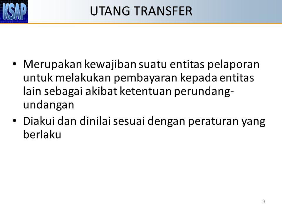 UTANG TRANSFER Merupakan kewajiban suatu entitas pelaporan untuk melakukan pembayaran kepada entitas lain sebagai akibat ketentuan perundang-undangan.