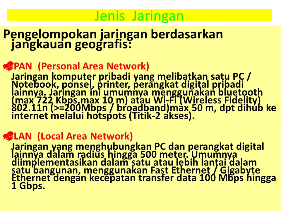Jenis Jaringan Pengelompokan jaringan berdasarkan jangkauan geografis: