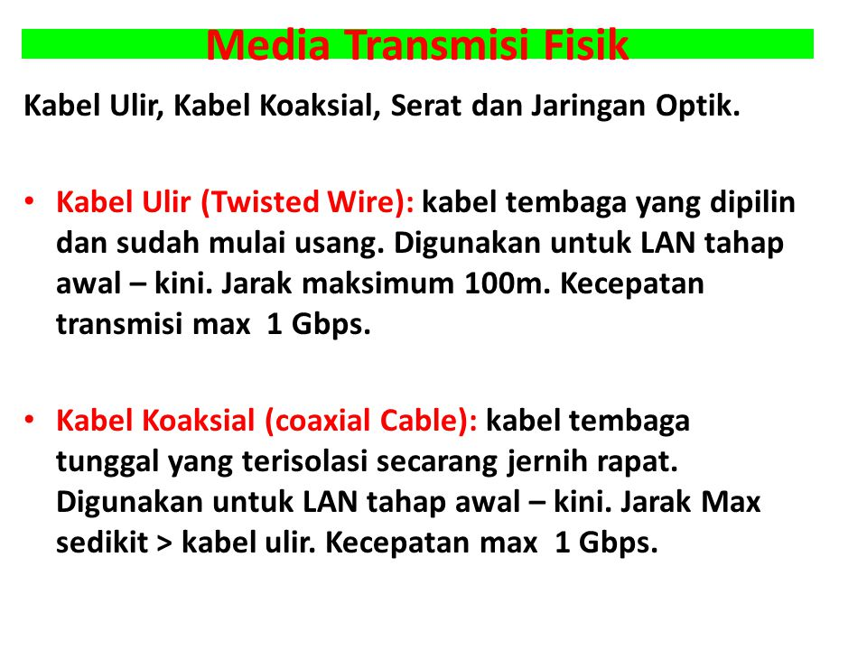 Media Transmisi Fisik Kabel Ulir, Kabel Koaksial, Serat dan Jaringan Optik.