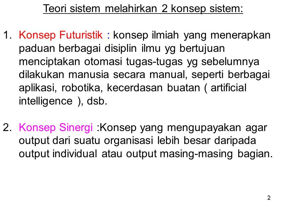 Teori sistem melahirkan 2 konsep sistem: