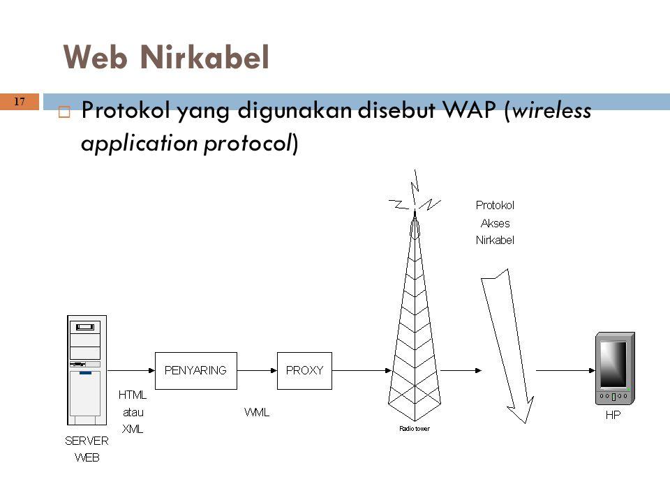 Web Nirkabel Protokol yang digunakan disebut WAP (wireless application protocol)