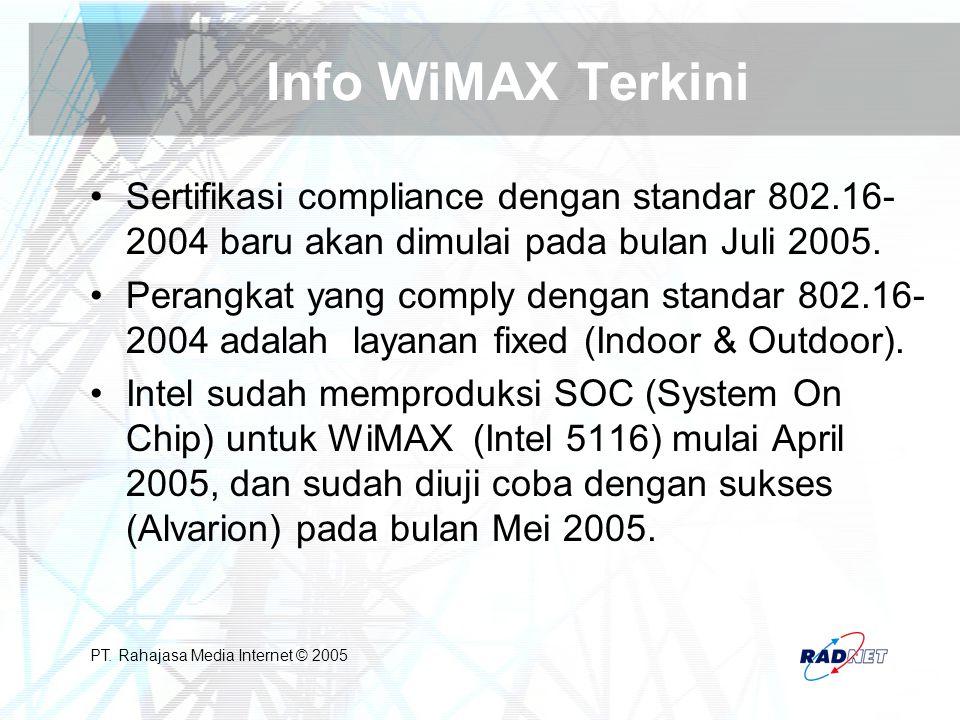 Info WiMAX Terkini Sertifikasi compliance dengan standar 802.16-2004 baru akan dimulai pada bulan Juli 2005.
