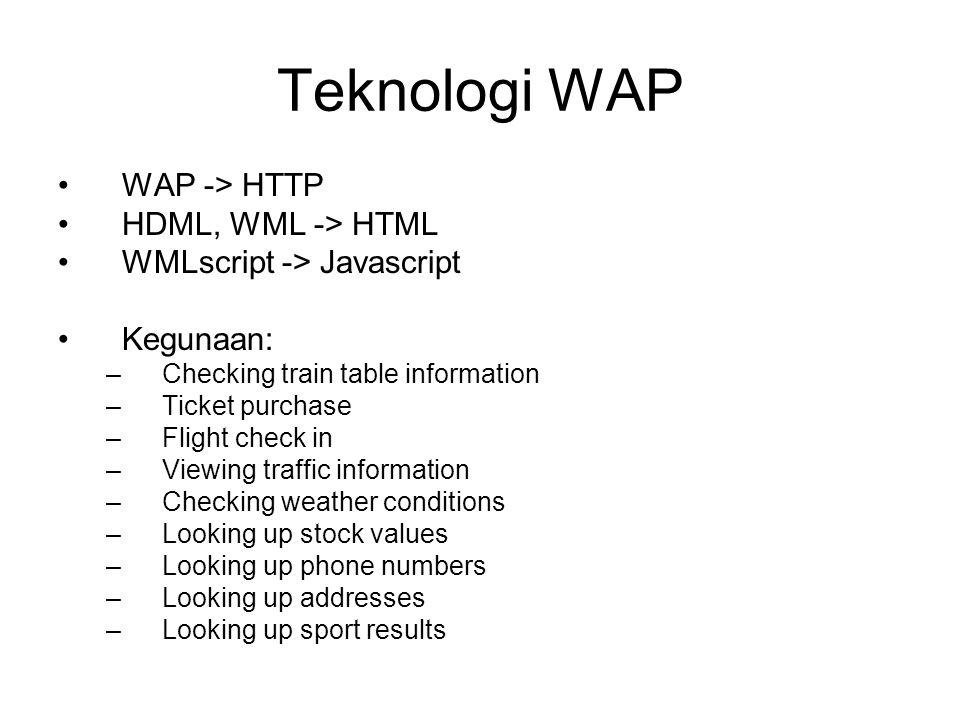 Teknologi WAP WAP -> HTTP HDML, WML -> HTML