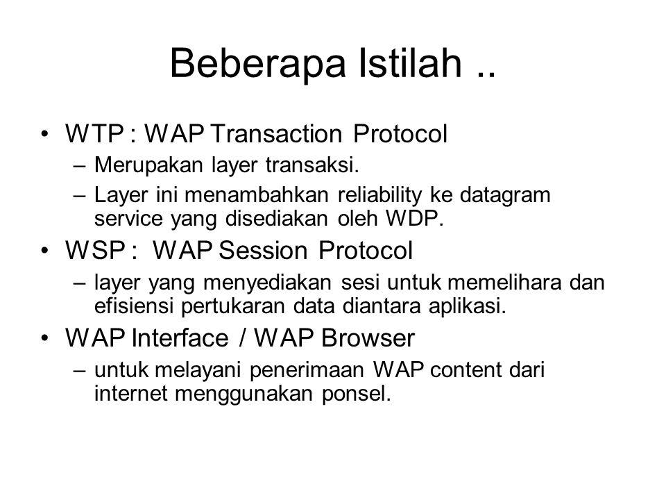 Beberapa Istilah .. WTP : WAP Transaction Protocol