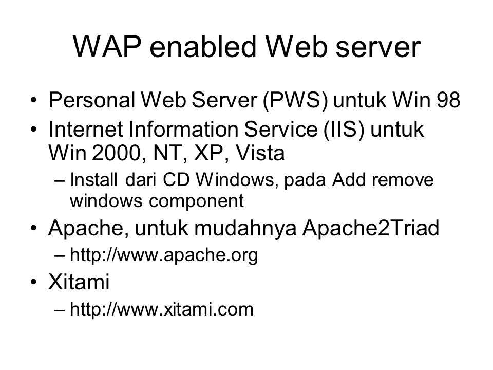 WAP enabled Web server Personal Web Server (PWS) untuk Win 98