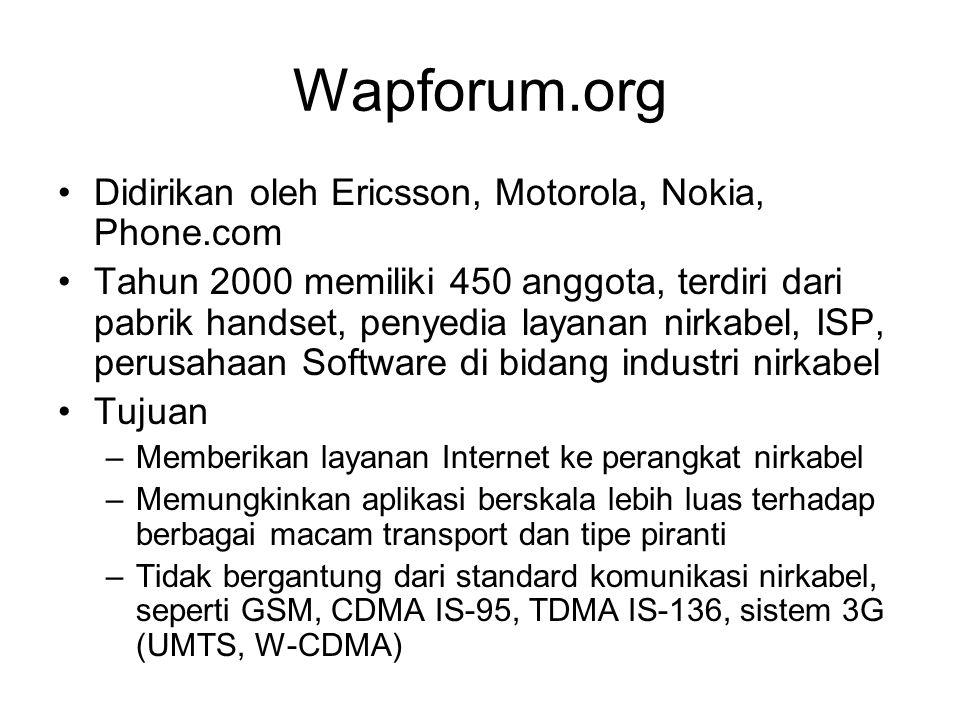 Wapforum.org Didirikan oleh Ericsson, Motorola, Nokia, Phone.com