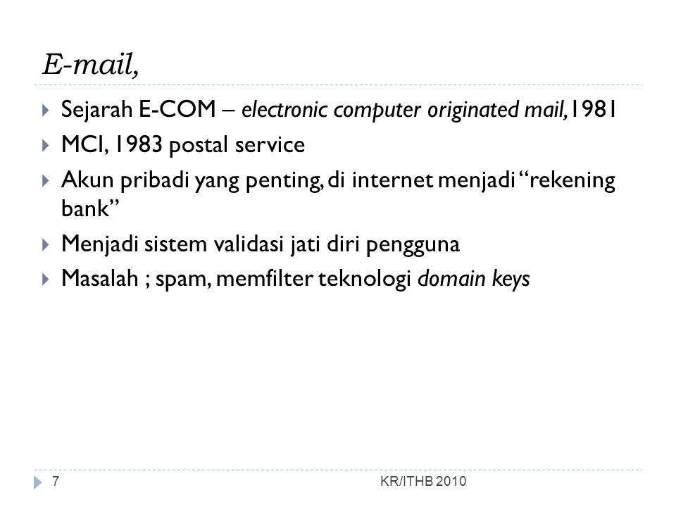 E-mail, Sejarah E-COM – electronic computer originated mail,1981