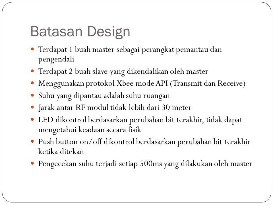 Batasan Design Terdapat 1 buah master sebagai perangkat pemantau dan pengendali. Terdapat 2 buah slave yang dikendalikan oleh master.