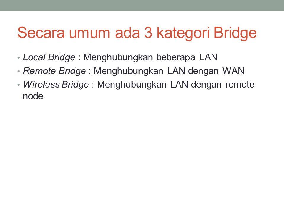 Secara umum ada 3 kategori Bridge