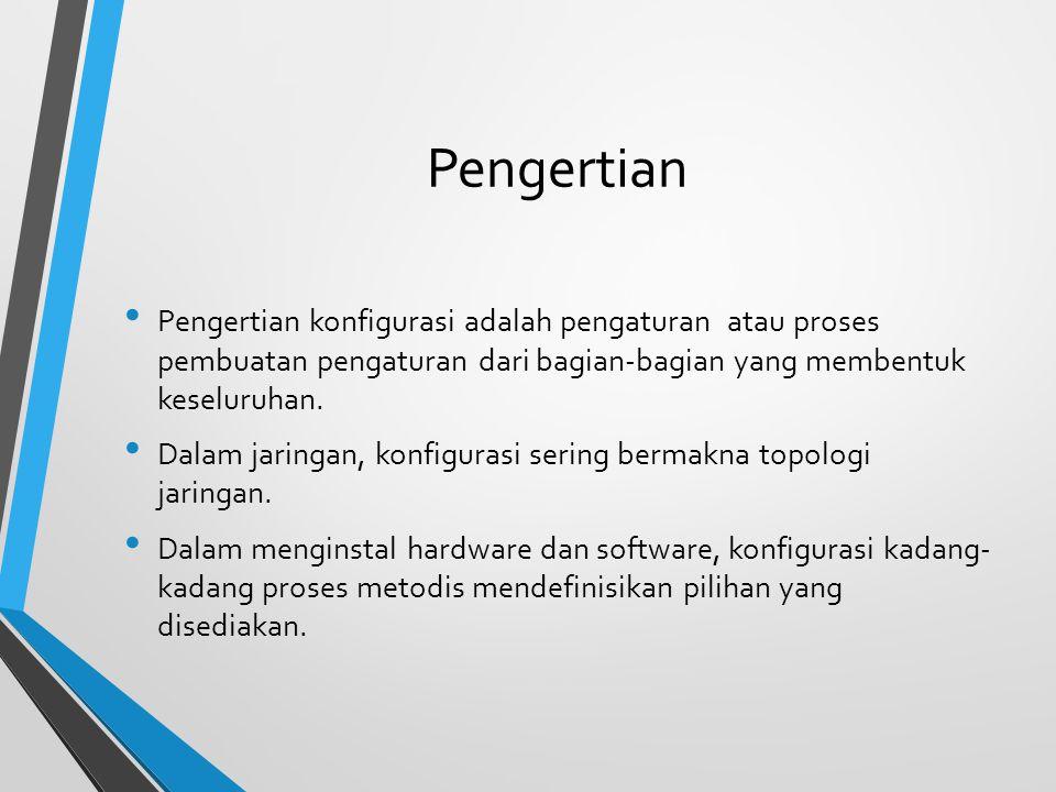 Pengertian Pengertian konfigurasi adalah pengaturan atau proses pembuatan pengaturan dari bagian-bagian yang membentuk keseluruhan.