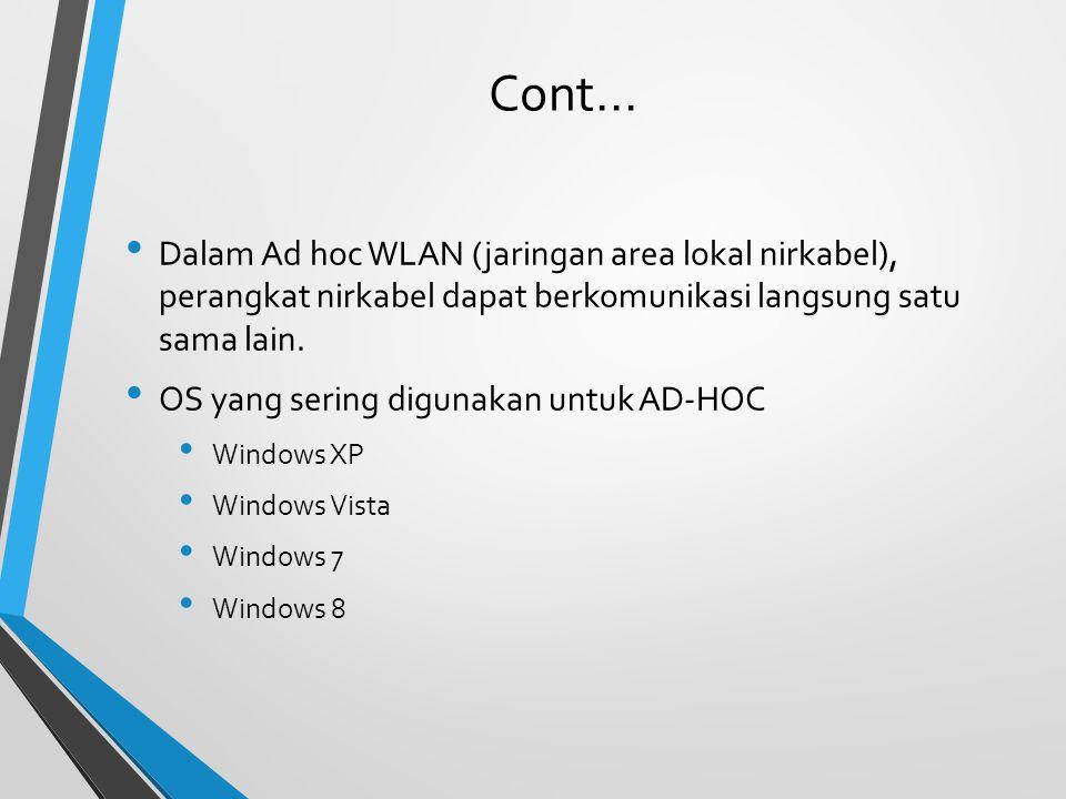 Cont... Dalam Ad hoc WLAN (jaringan area lokal nirkabel), perangkat nirkabel dapat berkomunikasi langsung satu sama lain.